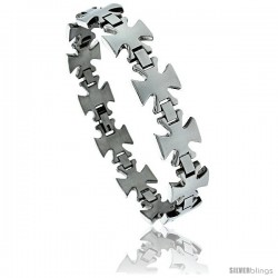 8 1/2 in. Stainless Steel Maltese Cross Bracelet, 5/8 in. (15 mm) wide