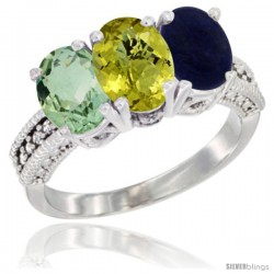 14K White Gold Natural Green Amethyst, Lemon Quartz & Lapis Ring 3-Stone 7x5 mm Oval Diamond Accent
