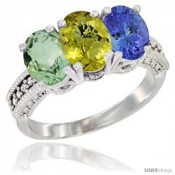 14K White Gold Natural Green Amethyst, Lemon Quartz & Tanzanite Ring 3-Stone 7x5 mm Oval Diamond Accent