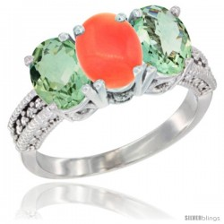 14K White Gold Natural Coral & Green Amethyst Sides Ring 3-Stone 7x5 mm Oval Diamond Accent