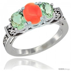 14K White Gold Natural Coral & Green Amethyst Ring 3-Stone Oval with Diamond Accent