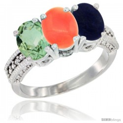14K White Gold Natural Green Amethyst, Coral & Lapis Ring 3-Stone 7x5 mm Oval Diamond Accent
