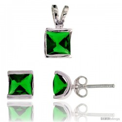 Sterling Silver Square-shaped Stud Earrings (7 mm) & Pendant (12mm tall) Set, w/ Princess Cut Emerald-colored CZ Stones