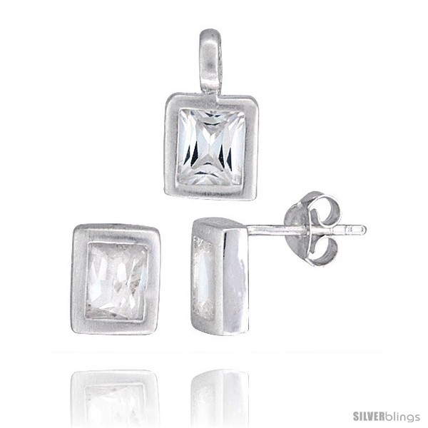 https://www.silverblings.com/17174-thickbox_default/sterling-silver-matte-finish-rectangular-earrings-8mm-tall-pendant-13mm-tall-set-w-emerald-cut-cz-stones.jpg