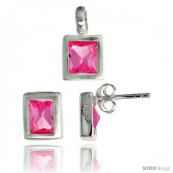 Sterling Silver Matte-finish Rectangular Earrings (8mm tall) & Pendant (13mm tall) Set, w/ Emerald Cut Pink Tourmaline-colored