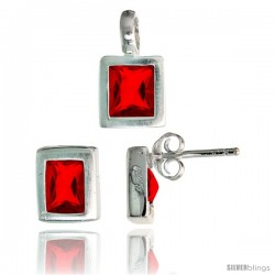 Sterling Silver Matte-finish Rectangular Earrings (8mm tall) & Pendant (13mm tall) Set, w/ Emerald Cut Ruby-colored CZ Stones