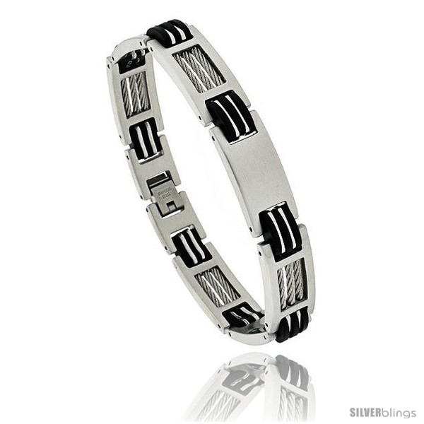 https://www.silverblings.com/1718-thickbox_default/gents-stainless-steel-cable-rubber-bracelet-1-2-in-wide-8-1-2-in-long.jpg