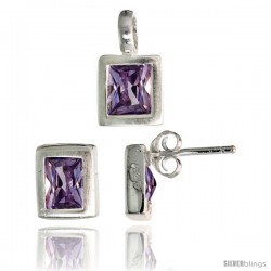 Sterling Silver Matte-finish Rectangular Earrings (8mm tall) & Pendant (13mm tall) Set, w/ Emerald Cut Amethyst-colored CZ