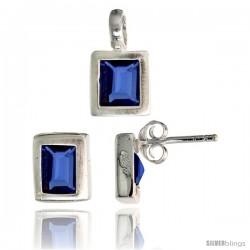 Sterling Silver Matte-finish Rectangular Earrings (8mm tall) & Pendant (13mm tall) Set, w/ Emerald Cut Blue Sapphire-colored CZ