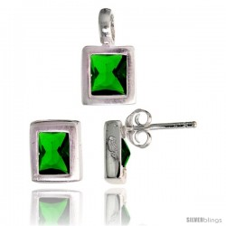 Sterling Silver Matte-finish Rectangular Earrings (8mm tall) & Pendant (13mm tall) Set, w/ Emerald Cut Emerald-colored CZ Stones
