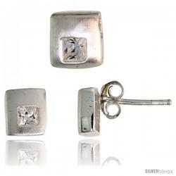 Sterling Silver Matte-finish Square-shaped Stud Earrings (6 mm) & Pendant Slide (7mm tall) Set, w/ Princess Cut CZ Stones