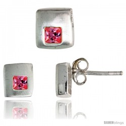 Sterling Silver Matte-finish Square-shaped Stud Earrings (6 mm) & Pendant Slide (7mm tall) Set, w/ Princess Cut Pink