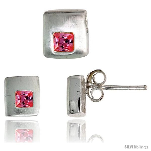 https://www.silverblings.com/17188-thickbox_default/sterling-silver-matte-finish-square-shaped-stud-earrings-6-mm-pendant-slide-7mm-tall-set-w-princess-cut-pink.jpg