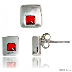 Sterling Silver Matte-finish Square-shaped Stud Earrings (6 mm) & Pendant Slide (7mm tall) Set, w/ Princess Cut Ruby-colored CZ
