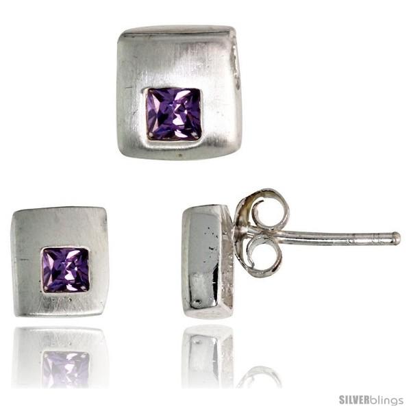 https://www.silverblings.com/17192-thickbox_default/sterling-silver-matte-finish-square-shaped-stud-earrings-6-mm-pendant-slide-7mm-tall-set-w-princess-cut.jpg