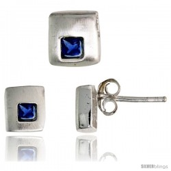 Sterling Silver Matte-finish Square-shaped Stud Earrings (6 mm) & Pendant Slide (7mm tall) Set, w/ Princess Cut Blue