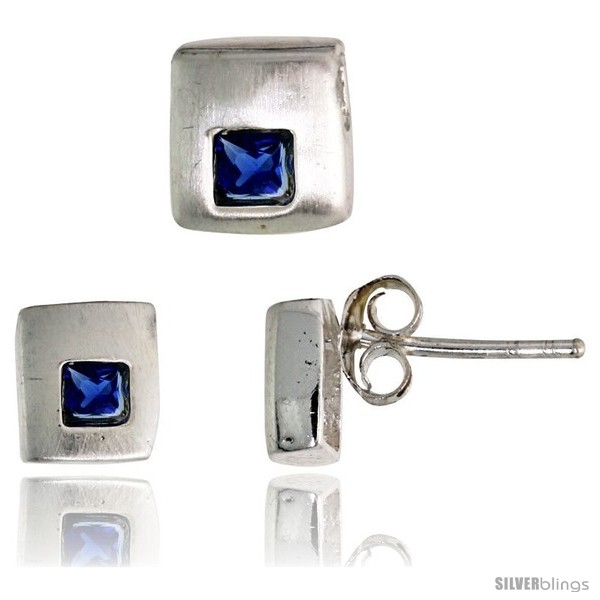 https://www.silverblings.com/17194-thickbox_default/sterling-silver-matte-finish-square-shaped-stud-earrings-6-mm-pendant-slide-7mm-tall-set-w-princess-cut-blue.jpg