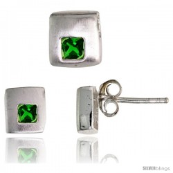 Sterling Silver Matte-finish Square-shaped Stud Earrings (6 mm) & Pendant Slide (7mm tall) Set, w/ Princess Cut Emerald-colored