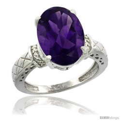 Sterling Silver Diamond Natural Amethyst Ring 5.5 ct Oval 14x10 Stone