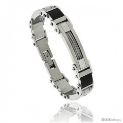 Gent's Stainless Steel Cable & Black Carbon Fiber Bracelet, 5/8 in wide, 8 1/2 in long -Style Bss89