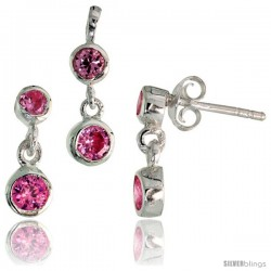 Sterling Silver Dangle Earrings (13mm tall) & Pendant (17mm tall) Set, w/ Bezel Set Brilliant Cut Pink Tourmaline-colored CZ