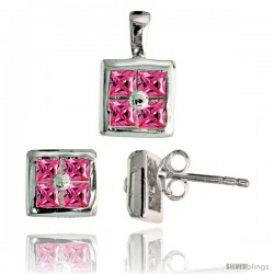 Sterling Silver Square-shaped Stud Earrings (6.5 mm) & Pendant (11mm tall) Set, w/ Princess Cut Pink Tourmaline-colored CZ