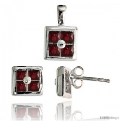 Sterling Silver Square-shaped Stud Earrings (6.5 mm) & Pendant (11mm tall) Set, w/ Princess Cut Pink Ruby-colored CZ Stones