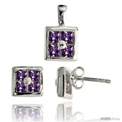 Sterling Silver Square-shaped Stud Earrings (6.5 mm) & Pendant (11mm tall) Set, w/ Princess Cut Amethyst-colored CZ Stones