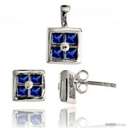 Sterling Silver Square-shaped Stud Earrings (6.5 mm) & Pendant (11mm tall) Set, w/ Princess Cut Blue Sapphire-colored CZ Stones
