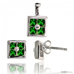 Sterling Silver Square-shaped Stud Earrings (6.5 mm) & Pendant (11mm tall) Set, w/ Princess Cut Emerald-colored CZ Stones