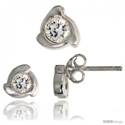 Sterling Silver Matte-finish Fancy Stud Earrings (6 mm) & Pendant Slide (8mm tall) Set, w/ Brilliant Cut CZ Stones