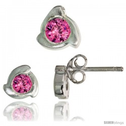 Sterling Silver Matte-finish Fancy Stud Earrings (6 mm) & Pendant Slide (8mm tall) Set, w/ Brilliant Cut Pink