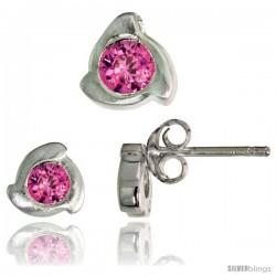 Sterling Silver Matte-finish Fancy Stud Earrings (6 mm) & Pendant Slide (8mm tall) Set, w/ Brilliant Cut Pink