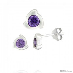 Sterling Silver Matte-finish Fancy Stud Earrings (6 mm) & Pendant Slide (8mm tall) Set, w/ Brilliant Cut Amethyst-colored CZ