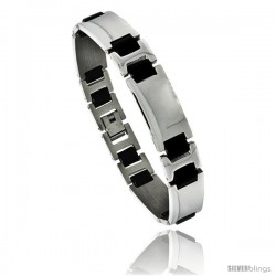 Stainless Steel and Rubber Bracelet, 8 in long -Style Bss9