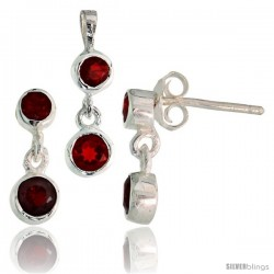 Sterling Silver Dangle Earrings (13mm tall) & Pendant (17mm tall) Set, w/ Bezel Set Brilliant Cut Ruby-colored CZ Stones