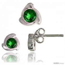 Sterling Silver Matte-finish Fancy Stud Earrings (6 mm) & Pendant Slide (8mm tall) Set, w/ Brilliant Cut Emerald-colored CZ