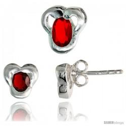 Sterling Silver Matte-finish Fancy Stud Earrings (7mm tall) & Pendant Slide (9mm tall) Set, w/ Oval Cut Ruby-colored CZ Stones