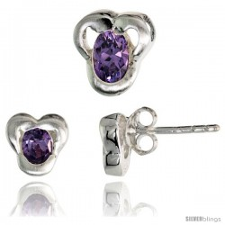 Sterling Silver Matte-finish Fancy Stud Earrings (7mm tall) & Pendant Slide (9mm tall) Set, w/ Oval Cut Amethyst-colored CZ