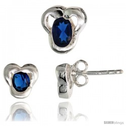 Sterling Silver Matte-finish Fancy Stud Earrings (7mm tall) & Pendant Slide (9mm tall) Set, w/ Oval Cut Blue Sapphire-colored