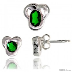 Sterling Silver Matte-finish Fancy Stud Earrings (7mm tall) & Pendant Slide (9mm tall) Set, w/ Oval Cut Emerald-colored CZ