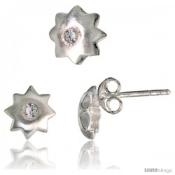 Sterling Silver Matte-finish Star Stud Earrings (7 mm) & Pendant Slide (8 mm) Set, w/ Brilliant Cut CZ Stones