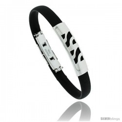 Stainless Steel & Rubber Bracelet, 3/8 in wide, 8 in long -Style Bss90