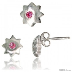 Sterling Silver Matte-finish Star Stud Earrings (7 mm) & Pendant Slide (8 mm) Set, w/ Brilliant Cut Pink Tourmaline-colored CZ