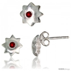 Sterling Silver Matte-finish Star Stud Earrings (7 mm) & Pendant Slide (8 mm) Set, w/ Brilliant Cut Ruby-colored CZ Stones