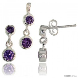 Sterling Silver Dangle Earrings (13mm tall) & Pendant (17mm tall) Set, w/ Bezel Set Brilliant Cut Amethyst-colored CZ Stones