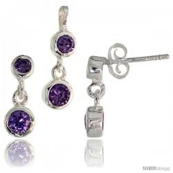 Sterling Silver Dangle Earrings (13mm tall) & Pendant (17mm tall) Set, w/ Bezel Set Brilliant Cut Amethyst-colored CZ Stones