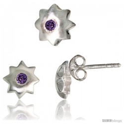 Sterling Silver Matte-finish Star Stud Earrings (7 mm) & Pendant Slide (8 mm) Set, w/ Brilliant Cut Amethyst-colored CZ Stones