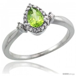 14k White Gold Diamond Peridot Ring 0.33 ct Tear Drop 6x4 Stone 3/8 in wide
