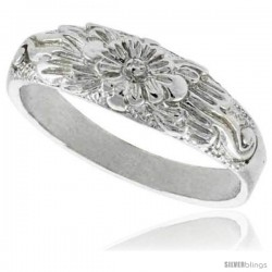 Sterling Silver Floral Ring Polished finish 1/4 in wide -Style Ffr427